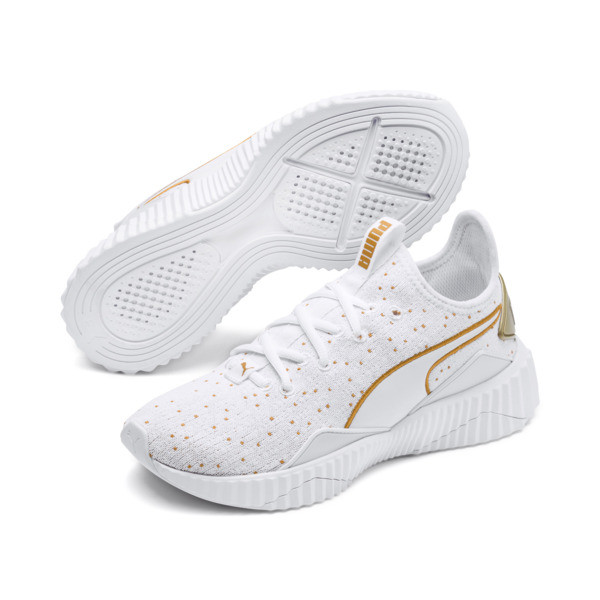 Defy Speckle Women's Training Shoes, Puma White-Gold, large