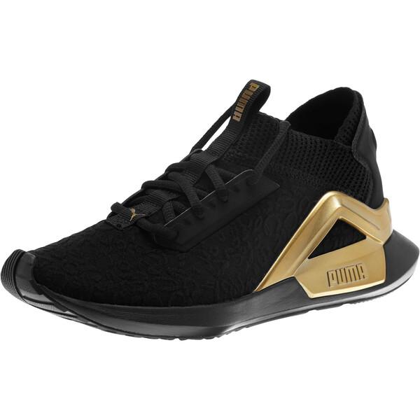 Rogue Metallic Women's Running Shoes, Puma Black-Metallic Gold, large