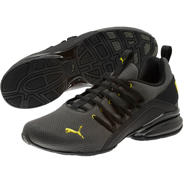Axelion Mesh Men's Training Shoes, Charcoal Gray-Blazing Yellow, large