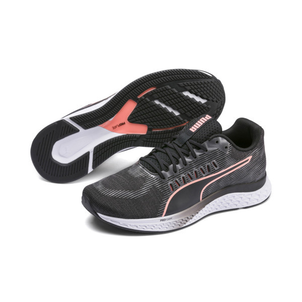 Speed Sutamina Women's Running Shoes, Puma Black-Gray-Peach, large