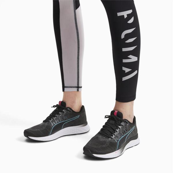Zapatos para correr SPEED Sutamina para mujer, Black-Milky Blue-Pink Alert, grande