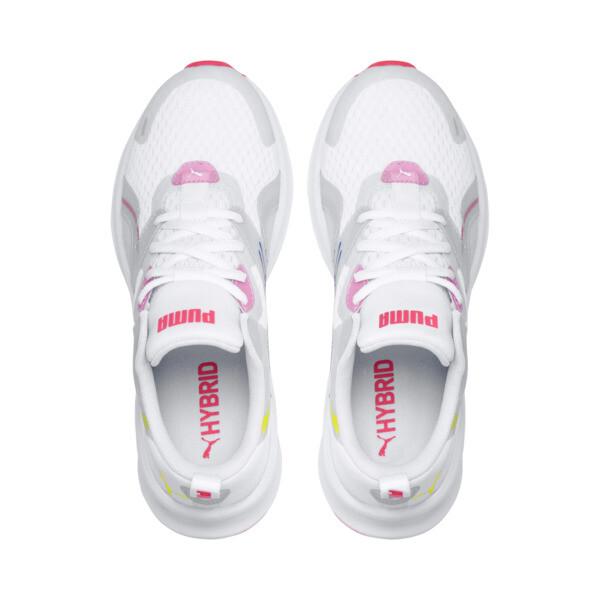 Zapatos para correr HYBRID Fuego para mujer, White-PinkAlert-YellowAlert, grande