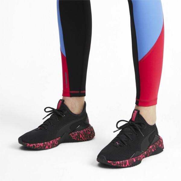 Defy Leopard Women's Sneakers, Puma Black-Pink Alert, large