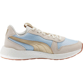 Thumbnail 4 of NRGY Neko Retro Sweet Women's Street Running Shoes, Light Sky- White- Gold, medium