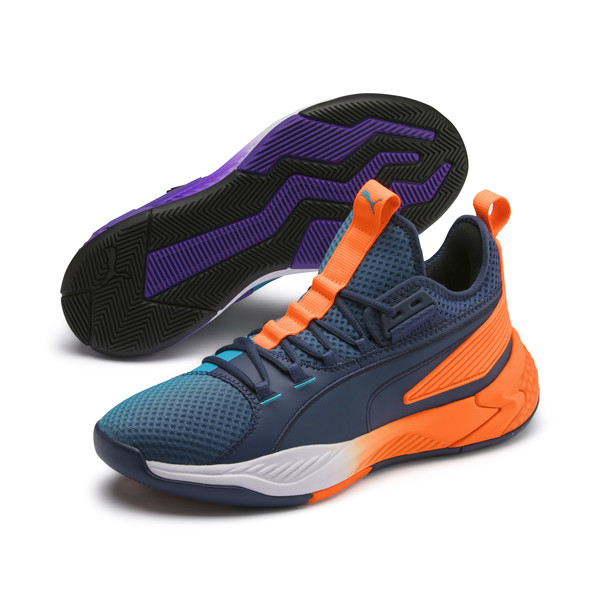 Uproar Charlotte Basketball Shoes, Orange- PURPLE, large