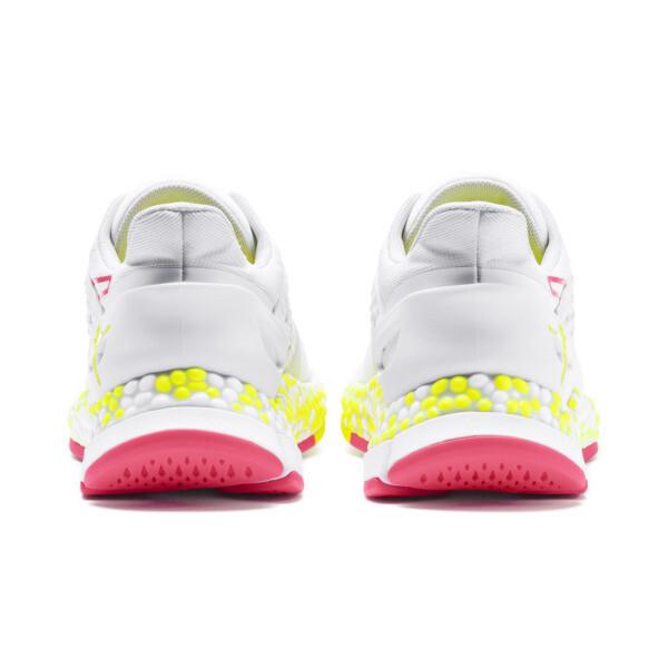 Zapatos para correr HYBRID Astro para mujer, White-Yellow Alert-Pnk Alert, grande