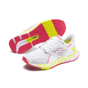 Thumbnail 3 of HYBRID NETFIT Astro Women's Running Shoes, White-Yellow Alert-Pnk Alert, medium