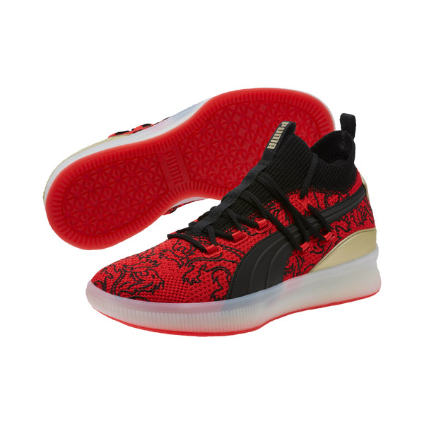 Clyde Court London Men's Basketball Shoes, High Risk Red-Puma Black, large