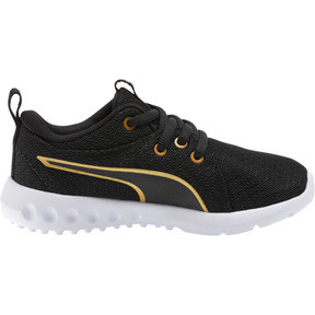 Thumbnail 4 of Carson 2 Metallic Mesh Little Kids' Shoes, Puma Black-Gold, medium
