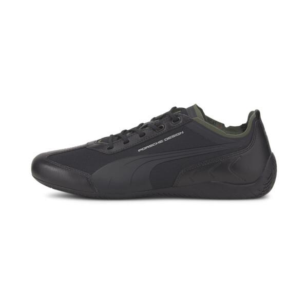 puma porsche design speedcat x men's motorsport shoes in jet black/thyme, size 11.5