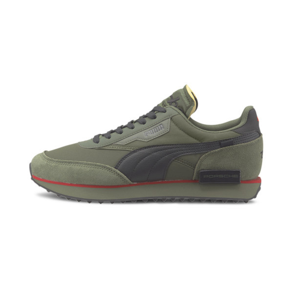 We\\'re kicking things up a notch with some help from Porsche Legacy. The Future Rider is reborn with a rugged track-ready rubber outsole, ultra-cushioned midsole and elevated design that could only come from the makers of Porsche. | PUMA Porsche Legacy Future Rider Turbo Men\\'s Sneakers in Thyme/Forest Night/Black, Size 13