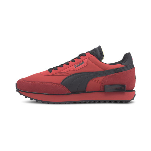 We\\'re kicking things up a notch with some help from Porsche Legacy. The Future Rider is reborn with a rugged track-ready rubber outsole, ultra-cushioned midsole and elevated design that could only come from the makers of Porsche. | PUMA Porsche Legacy Future Rider Turbo Men\\'s Sneakers in High Risk Red/Black, Size 9.5