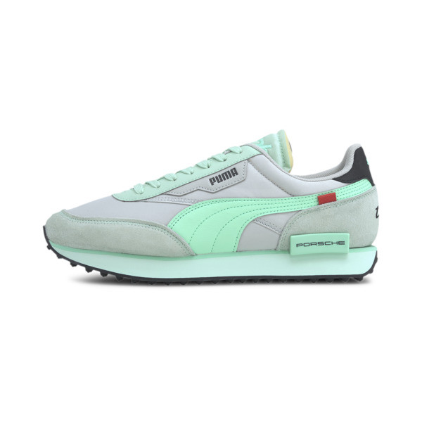 We\\'re kicking things up a notch with some help from Porsche Legacy. The Future Rider is reborn with a rugged track-ready rubber outsole, ultra-cushioned midsole and elevated design that could only come from the makers of Porsche. | PUMA Porsche Legacy Future Rider Turbo Men\\'s Sneakers in Mist Green/Grey/Violet, Size 5.5