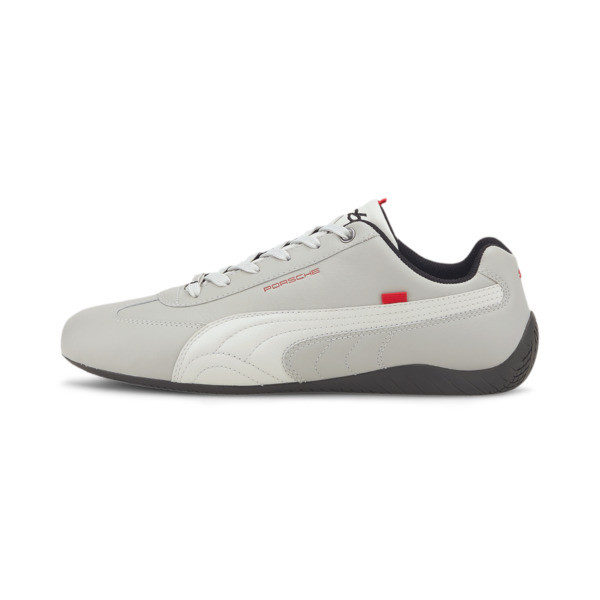 Elevate your driving style in this sleek Speedcat from Porsche Legacy. This PUMA classic features a low profile outsole design with a rounded driver\\'s heel for superior grip and an intuitive pedal feel, and a smooth premium leather upper for a luxe look. | PUMA Porsche Legacy Speedcat Turbo Men\\'s Motorsport Shoes in Glacier Grey/Silver, Size 12