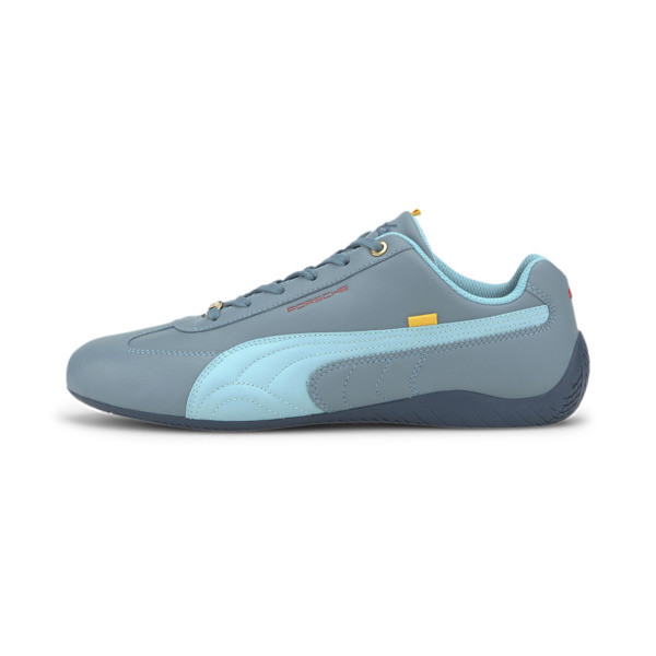 Elevate your driving style in this sleek Speedcat from Porsche Legacy. This PUMA classic features a low profile outsole design with a rounded driver\\'s heel for superior grip and an intuitive pedal feel, and a smooth premium leather upper for a luxe look. | PUMA Porsche Legacy Speedcat Turbo Men\\'s Motorsport Shoes in Blue Streak/Milky Blue, Size 5