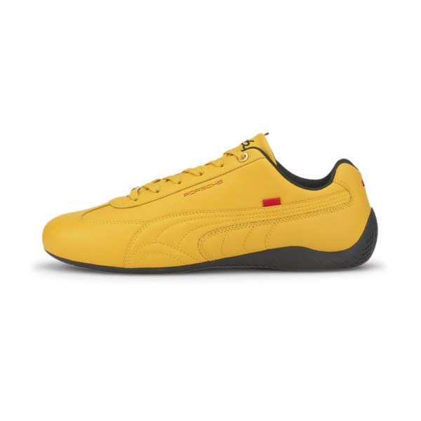 Elevate your driving style in this sleek Speedcat from Porsche Legacy. This PUMA classic features a low profile outsole design with a rounded driver\\'s heel for superior grip and an intuitive pedal feel, and a smooth premium leather upper for a luxe look. | PUMA Porsche Legacy Speedcat Turbo Men\\'s Motorsport Shoes in Golden Rod/Golden Rod, Size 7