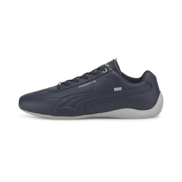 Elevate your driving style in this sleek Speedcat from Porsche Legacy. This PUMA classic features a low profile outsole design with a rounded driver\\'s heel for superior grip and an intuitive pedal feel, and a smooth premium leather upper for a luxe look. | PUMA Porsche Legacy Speedcat Turbo Men\\'s Motorsport Shoes in Dark Blue, Size 8