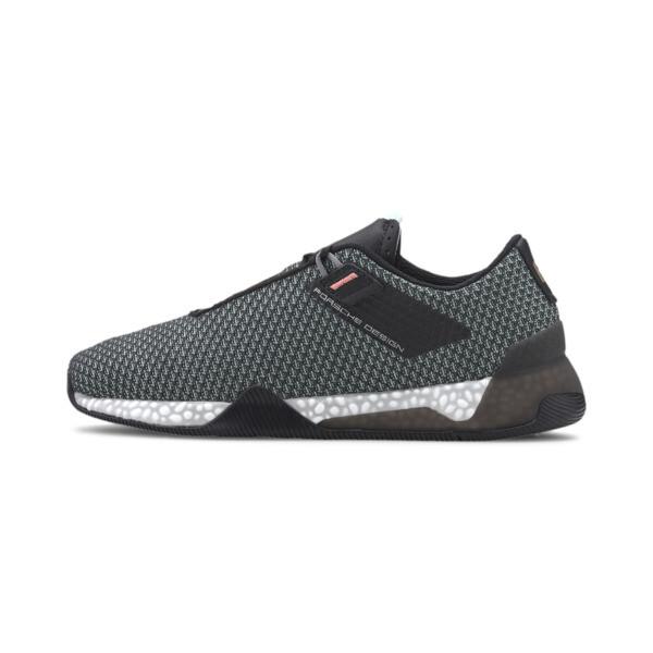 puma porsche design hybrid tourer men's running shoes in jet black/mist green, size 13