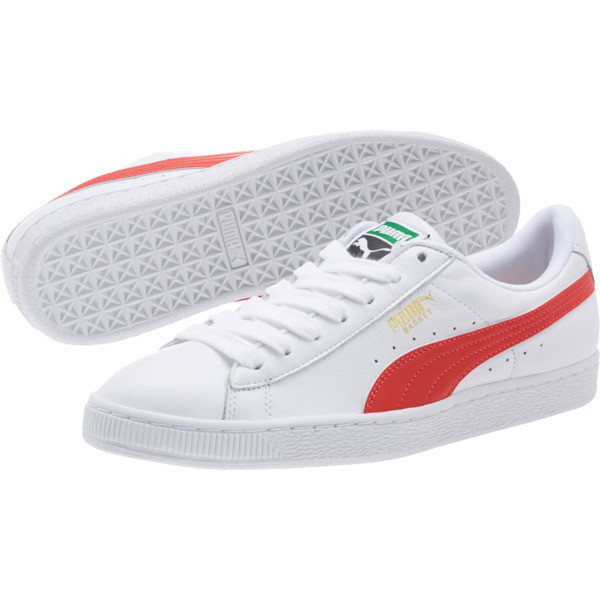 Basket Classic LFS Men's Shoes, Puma White-Flame Scarlet, large