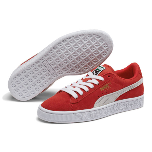 Suede Sneakers JR, high risk red-white, large