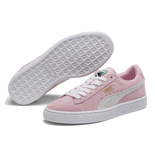 Suede Sneakers JR, pink lady-white-team gold, large