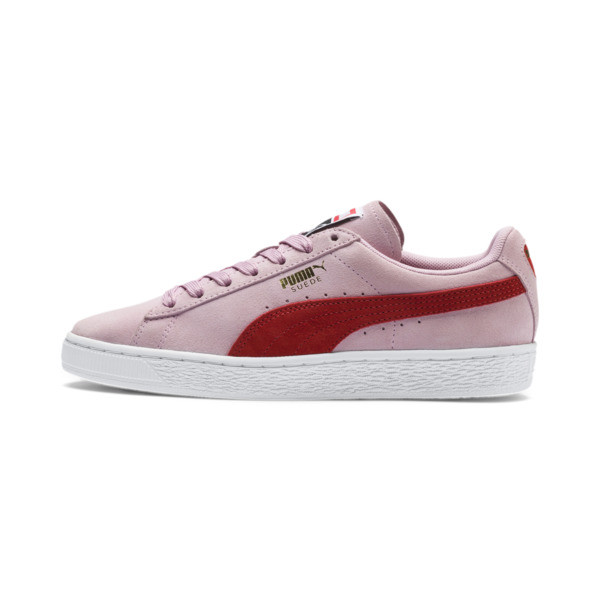Suede Classic Women's Sneakers, Pale Pink-Hibiscus, large