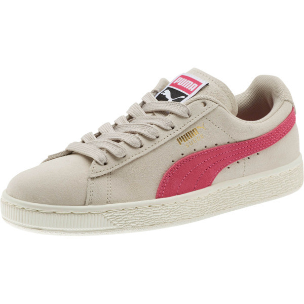 Suede Classic Women's Sneakers, Silver Gray-Fuchsia Purple, large