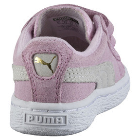 Thumbnail 3 of Suede Two-strap Babies' Trainers, pink lady-team gold, medium