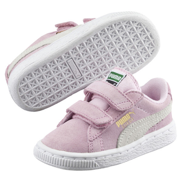 Suede Two-strap Babies' Trainers, pink lady-team gold, large