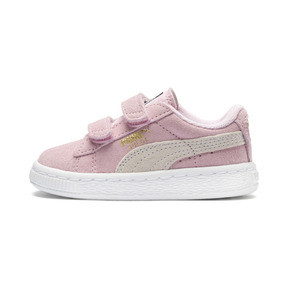 Thumbnail 1 of Suede Two-strap Babies' Trainers, pink lady-team gold, medium