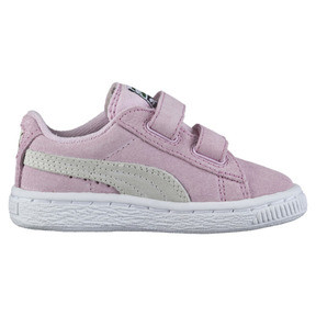 Thumbnail 4 of Suede Two-strap Babies' Trainers, pink lady-team gold, medium