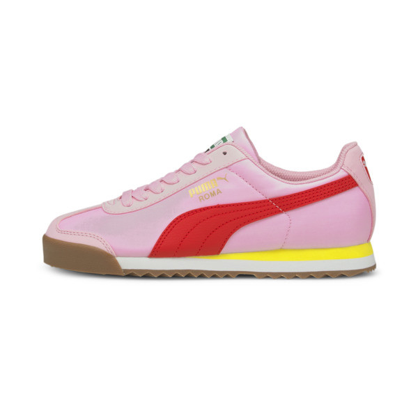 puma roma basic summer sneakers jr in pink, size 4.5