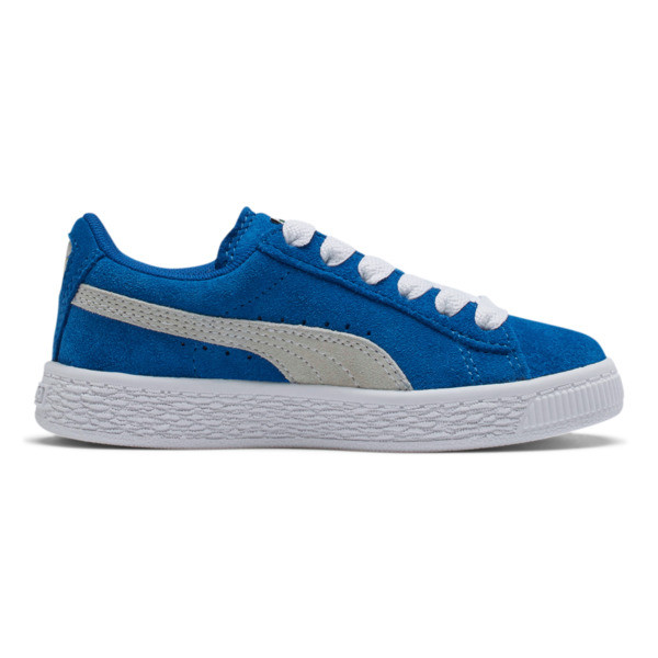 Suede Little Kids' Shoes, Snorkel Blue-Puma White, large