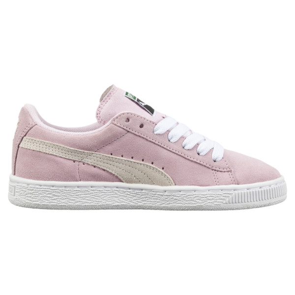 Suede Kids' Trainers, Pink Lady- White-P.T. Gold, large