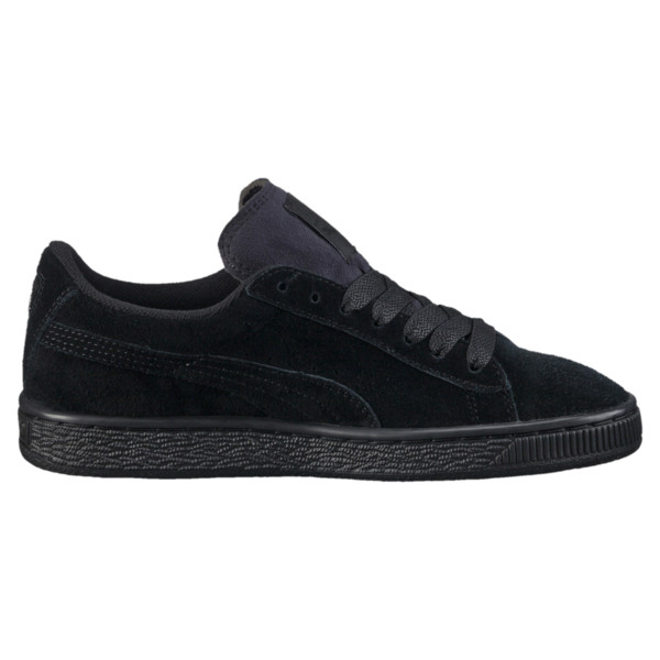 Suede Kids' Trainers, Puma Black-Puma Silver, large