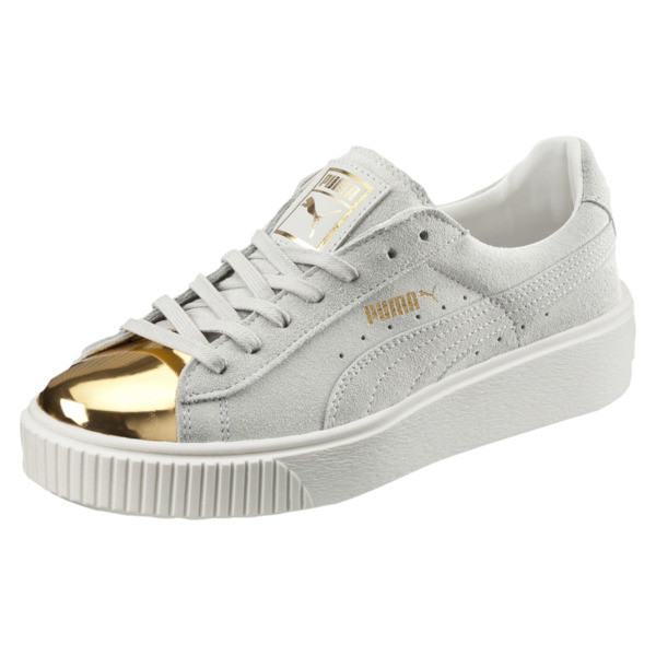 Suede Platform Gold Women's Sneakers, Gold-Star White-Puma White, large