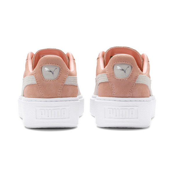 Suede Platform Women's Sneakers, Peach Bud-Puma Silver, large