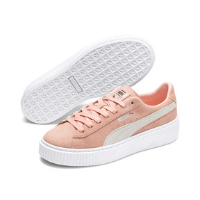 Thumbnail 2 of Suede Platform Women's Sneakers, Peach Bud-Puma Silver, medium