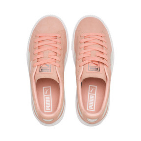 Thumbnail 6 of Suede Platform Women's Sneakers, Peach Bud-Puma Silver, medium
