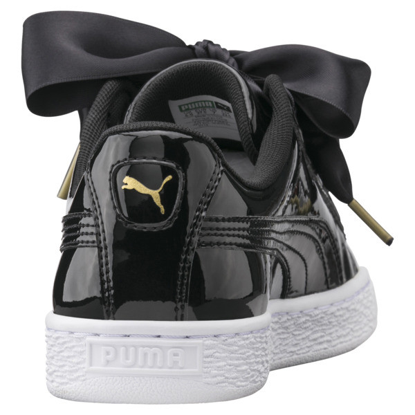 Basket Heart Patent Women's Trainers, Puma Black-Puma Black, large