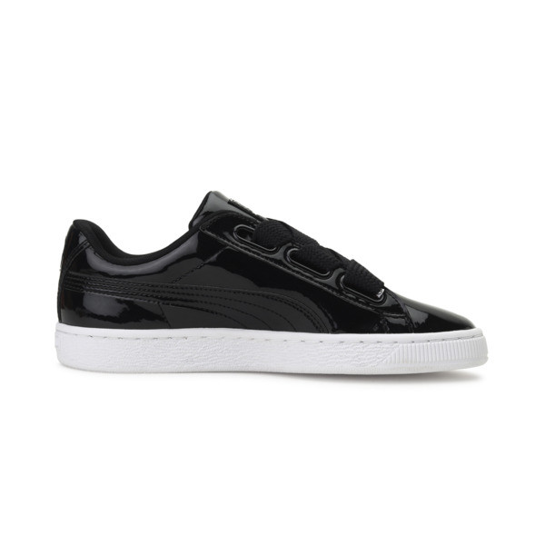 Basket Heart Patent Women's Sneakers, Puma Black-Puma Black, large