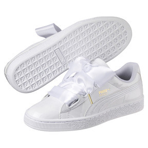 Thumbnail 2 of Basket Heart Patent Women's Trainers, Puma White-Puma White, medium