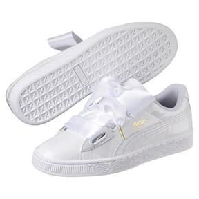 Thumbnail 2 of Basket Heart Patent Women's Sneakers, Puma White-Puma White, medium
