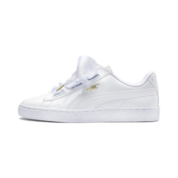 Basket Heart Patent Women's Trainers, Puma White-Puma White, large