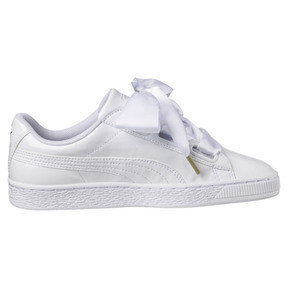 Thumbnail 3 of Basket Heart Patent Women's Trainers, Puma White-Puma White, medium