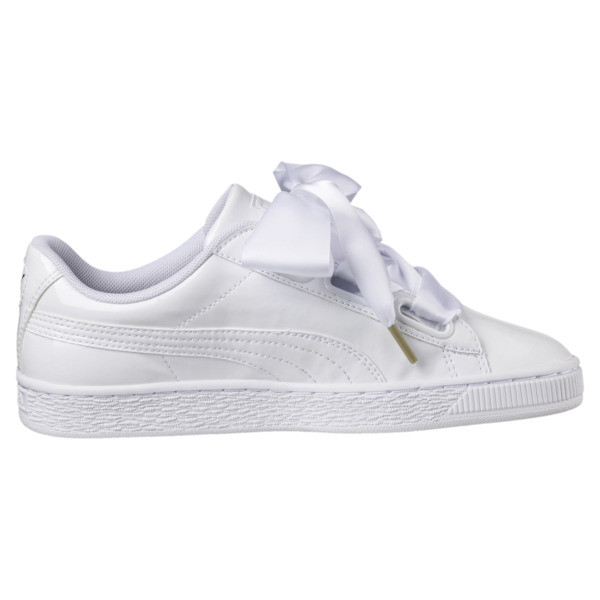 Basket Heart Patent Women's Sneakers, Puma White-Puma White, large