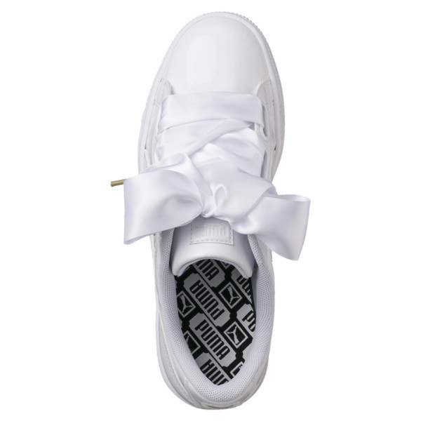68580a231de Basket Heart Patent Women's Sneakers, Puma White-Puma White, large. ‹ ›