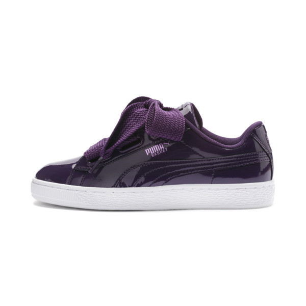 Basket Heart Patent Women's Sneakers, Indigo-Puma White, large