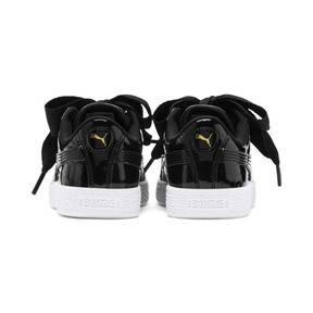 Thumbnail 3 of Basket Heart Patent Pre-School Girls' Trainers, Puma Black-Puma Black, medium