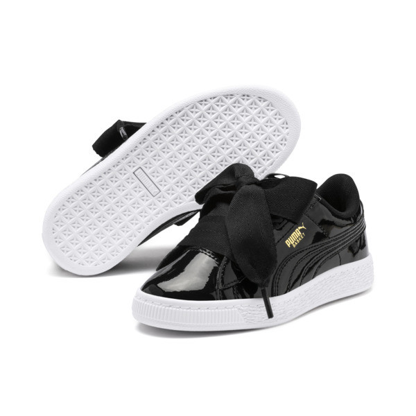 Basket Heart Patent Pre-School Girls' Trainers, Puma Black-Puma Black, large